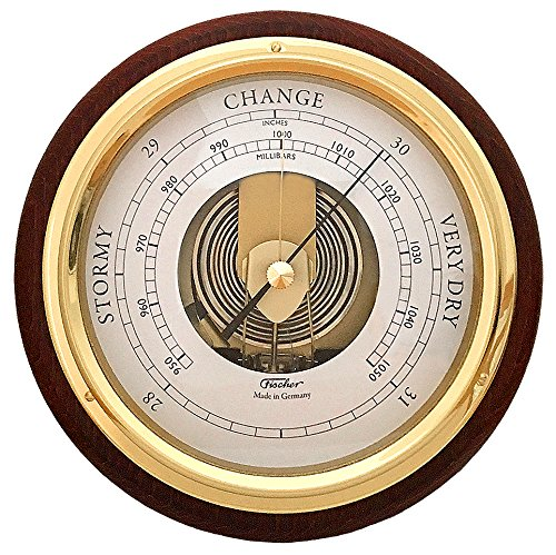 "Fischer Barometer Pascal, Brass-Mahogany 6.7"" / 170 mm - 1434B-22-US (US Version)"