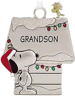 Hallmark Peanuts Snoopy and Woodstock Charmers Grandson Metal Christmas Ornament