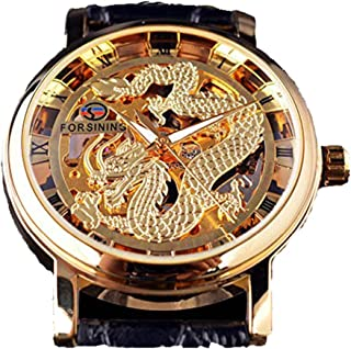 Fashion Dragon Skeleton Design Transparent Case Mechanical Watch Golden Dial Brand Luxury Mens Watches Hand Wind (Clearance Price 21.45)