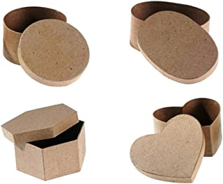 Paper Mache Gift Box with Lid (4 Piece Bundle Set) Heart, Round, Oval, Hexagon   Perfect Boxes for Christmas & Winter Gifts, DIY Crafting, Party Favor