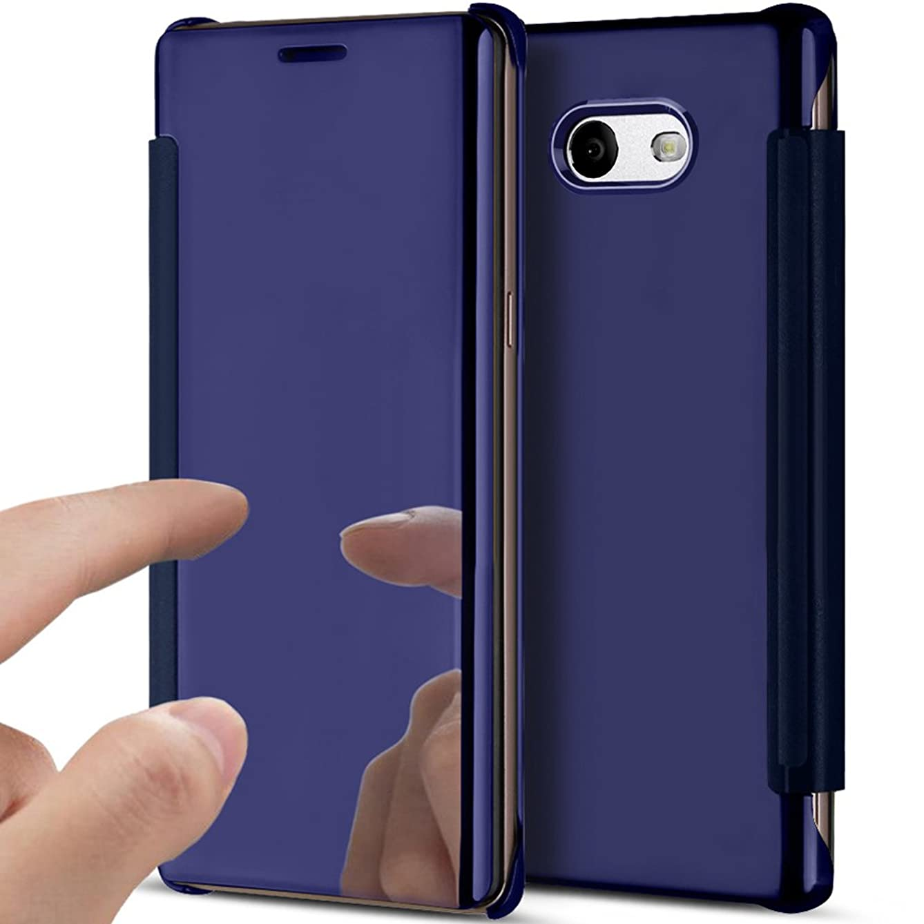 Galaxy J3 Emerge Case,Galaxy J3 Eclipse Case,J3 Mission Case,J3 Prime Case,Galaxy Express Prime 2 Case,ikasus Clear View Plating Mirror Cover Flip Protective Case Cover for Galaxy J3 (2017),Dark Blue