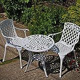 Lazy Susan - Rose Bistrotisch mit 2 Stühlen - Rundes Gartenmöbel Set aus Metall, Weiß (Rose Stühle)