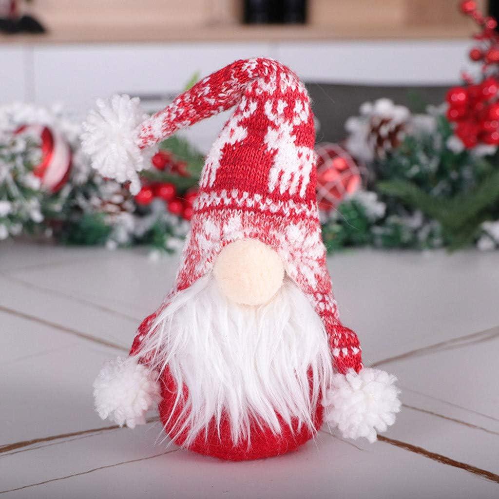 Mini Plush Handmade Santa Cloth Doll Xmas Figurines Toy Xmas Dwarf Elf FigurinesGnome Plush Doll for Home Christmas Holiday Decoration Khaki runxinqing Christmas Gnomes