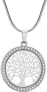Collana per Donna, Collana Ciondolo Albero della Vita per Bambina Collana in Oro rosa o Argento con Cristallo