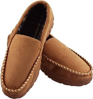 男式防滑休闲堆内衬细羊皮室内户外一脚蹬软帮鞋拖鞋 (FBA)