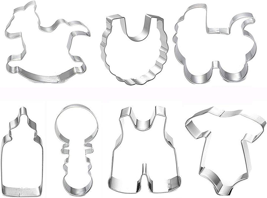 DUOJIA Cookie Cutters Set Baby Shower Theme Buggy Rocking Horse Bottle Cookie Cutter 7pcs Baby Shower Cookie Cutter