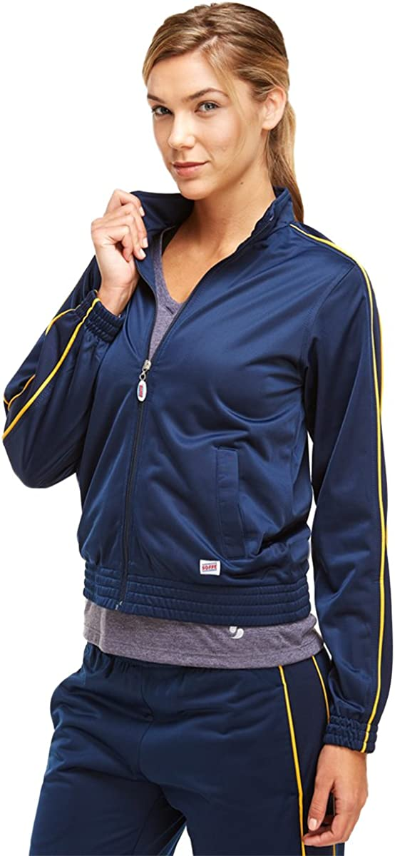 Soffe Girl's Warm-Up Jacket, Navy/Gold, Large