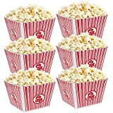 Hedume 6 Pack Popcorn Containers, Plastic Movie Theater Style Popcorn Container Set, Red & White Striped Classic Popcorn Boxes for Movie Night, Reusable (Square, 9' x 9' x 6')