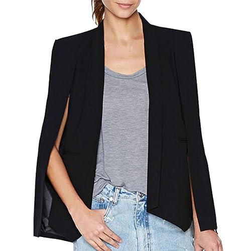 f0e586cb2d LAEMILIA Women Business Office Blazer Suit Jacket Chic Lapel Split Long  Sleeve Cape Fashion Workwear Coat