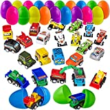 24 Filled Easter Eggs Filled with Toy Cars - Large 2 3/4 Inch Plastic Egg for Easter Basket Stuffers, Kids Birthday Party Favors, Goodie Bags, Pinata Surprise, Mini Gifts - by BisBi Toys