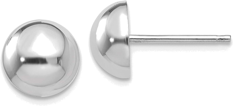 14kt White Gold 8mm Half Ball Post Earrings