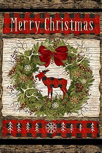 CHANGSHABF artistieke vlaggen vrolijke kerst krans land welkom decoratieve tuin vlag, dubbele zijde, 30 X 45 Cm, primitieve rustieke slinger eland Laurel teken Banner