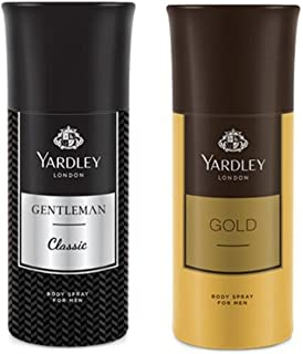 Yardley London Men's Deodorant Gentleman and Gold (150ml) - Combo of 2