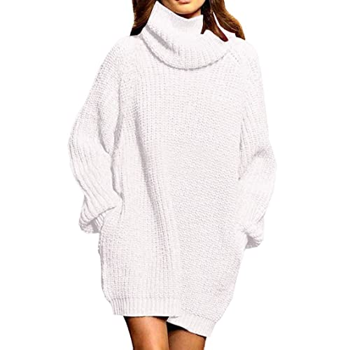 078e0f517b Pink Queen Women s Loose Oversize Turtleneck Wool Long Pullover Sweater  Dress