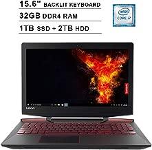 2019 Lenovo Legion Y720 15.6 Inch FHD 1080P Gaming Laptop (Inter Quad-Core i7-7700HQ up to 3.8GHz, 32GB DDR4 RAM, 1TB SSD (Boot) + 2TB HDD, GeForce GTX 1060 6GB, Backlit KB, Windows 10) (Black)