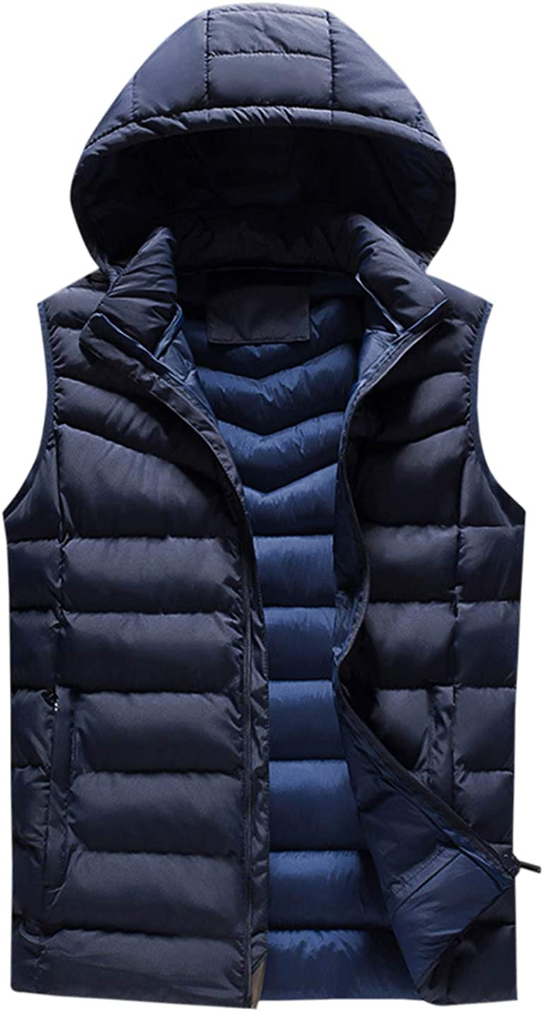 Gihuo Men's Outdoor Lightweight Casual Stand Collar Padded Vest Coats with Hood