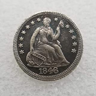 NiuChong Rare Antique Great United States 1846 Liberty Old Half-DIME Coins - Lucky Commemorative Gift Coin-Great Teaching Tool for Kids Love it