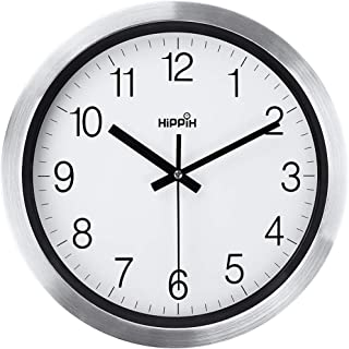 Silent Wall Clock 12 Inch Battery Operated Non-Ticking, Large Decorative Quiet Clock Atomic for Kitchen Home Office Wall Decor, Modern Battery Wall Clock for School Bathroom Living Room, Easy to Read