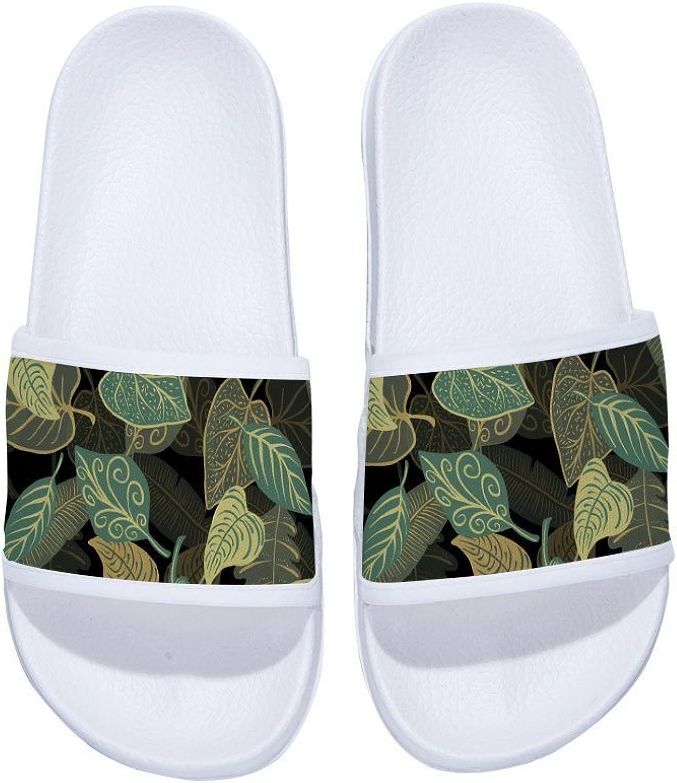 Buteri Leaves Slippers for Vacation Non-Slip Quick-Drying Slippers for Women Kids Men Kids