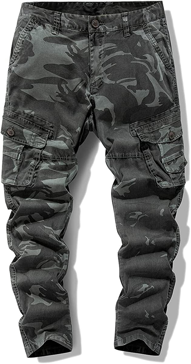 EXROTOY Men's Tactical Cargo Pants Multi-Pocket Casual Outdoor H