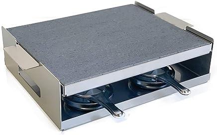 Grill Piedra Asar Carne a la Piedra 30x25x2 con 4 quemadores de Alcohol y Soporte de