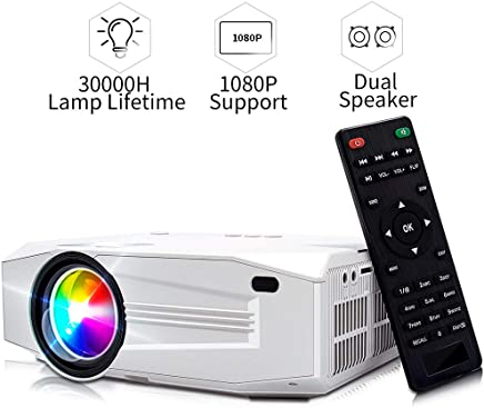 $109 Get Mini Projector, 1080P HD Supported Portable Video Projector with 30000H Lamp, Compatible with TV Stick, HDMI, USB , AV, DVD, for Multimedia Home Theater, Built-in Daul Speaker, Four Display Mode[GRC]