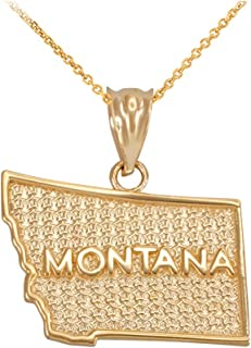 Montana MT State Map Pendant Necklace in 14k Yellow Gold