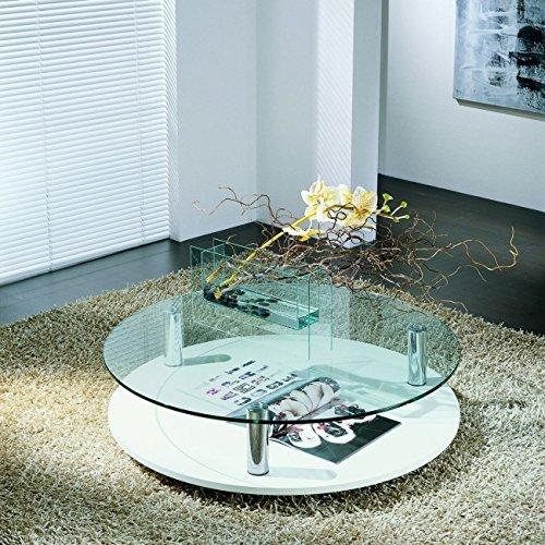 Sun tavolino da Salotto in Legno e Vetro Trasparente Rotondo Finitura Bianco venato