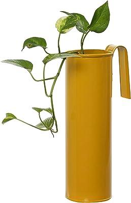 Green Gardenia GI-Metal Cylindrical Railing Planter/Hanging Planter (Yellow)