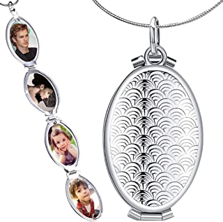 Nanafast Expanding Photo Locket Necklace Pendant 4 Pictures Chain Necklaces Memorial Gifts for Women Girls