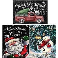 ONEST 5D DIY ダイヤモンドペインティングキット フルドリル ラインストーン 刺繍 クロスステッチ ペインティング ホーム装飾 メリークリスマス (16x12インチ) 3パック