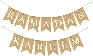 Beautymei Gold Glitter Ramadan Kareem Banner Eid Mubarak Banner Bunting Decoration, Islamic Muslim Festival Party Decor Supplies(H01)
