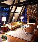 Fur Accents Faux Rug, White Sheepskin, Large Rectangle Area Carpet 8'x10'