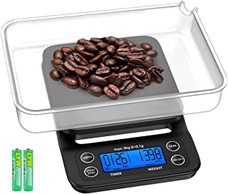 KeeKit Digital Coffee Scale, 3kg/0.1g Hand Drip Coffee Scale with Timer, Multifunction Kitchen Food Scale with Backlit LCD Display, Tare Function for Household Baking and Cooking (Batteries Included)