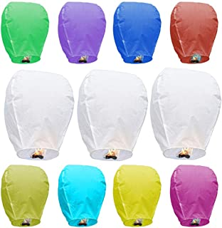 Maylai Sky Lanterns Flying Paper Lanterns Chinese Wish Lanterns for Birthday Wedding Party anniversary Chinese Lanterns Assorted Colors 100% Biodegradable Environmentally Friendly!(10 pcs)