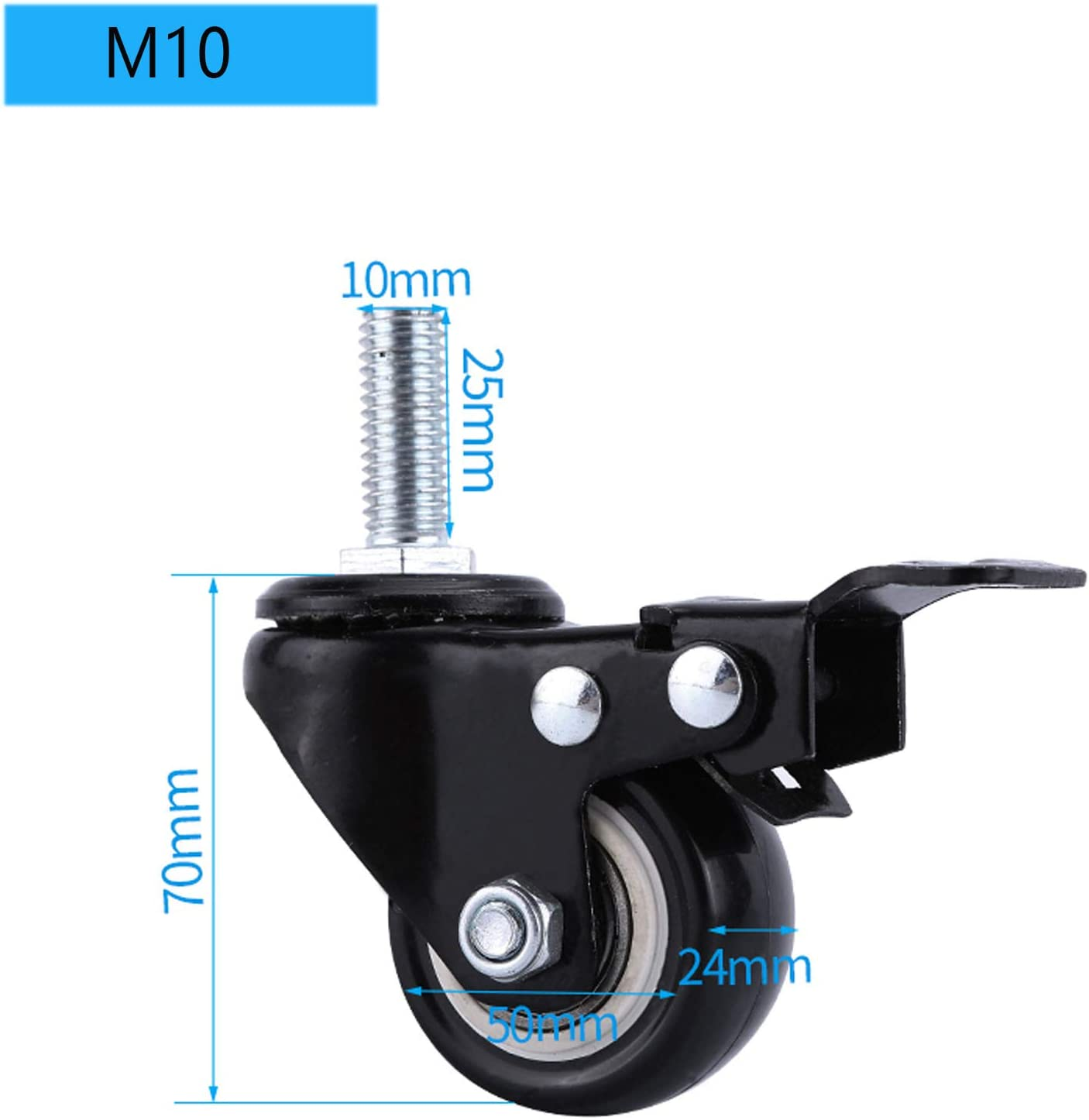 M8 Caricare 150Kg,Nero 4 Pcs 50mm Ruote Per Mobili Rotelle Girevoli Ruota In Poliuretano Con Freno,Viti M8//M10//M12,Mobili Per La Casa,Resistenti AllUsura//Silenzioso