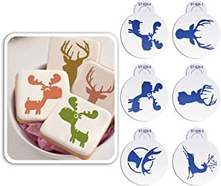 """AK ART KITCHENWARE 2.76"""" Christmas Deer Stencil Set for Cookie Sugar Decoration Cookie Mold Reusable Stencils for Painting Cake decorating Tool 6pcs/set ST-926S"""