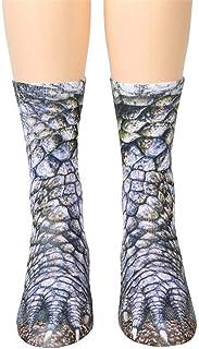 POHOVE, POHOVE 1 par de calcetines de pata de animal unisex 3D impreso calcetines de algodón novedad animal patas calcetines para adultos niños
