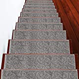SussexHome Stair Treads - 100% Polypropylene Anti-Slip Carpet Strips for Indoor Stairs - Easy to Install Runner Rugs with Double Adhesive Tape - Safe, Decorative Mats - 13-Pack - Gray