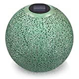 Navaris Farol Solar de jardín - Bola de jardín para Exteriores de 30CM con luz LED cálida y Encendido automático - Esfera Decorativa Cobre Verde