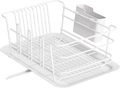 popular Dish Drying Rack, wholesale 1Easylife Dish wholesale Drainer for Kitchen Rustproof Dish Rack and Drainboard Set with Removable Utensil Holder and Adjustable Swivel Spout, Countertop or in Sink Dry Rack (White) online sale