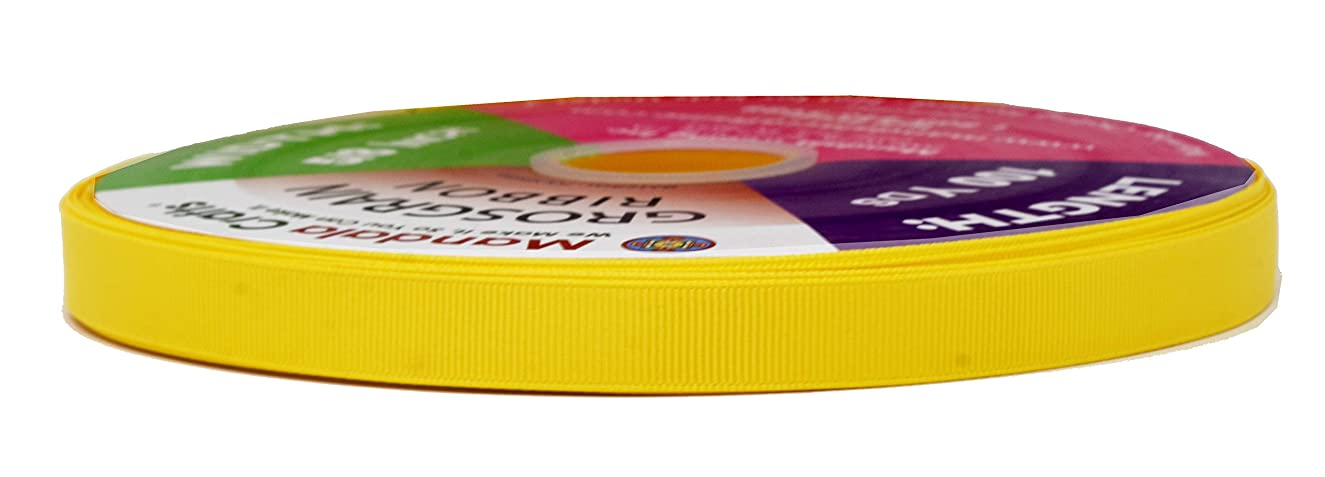 Mandala Crafts Grosgrain Ribbon from Polyester Fabric for Gift Wrap, Hair Ties, Bows, Luggage, Scrapbooks, Decoration, Sewing (5/8 Inch 16mm, Yellow)
