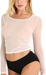 JnZeBly Womens Sheer See-Through Gauze Crop Tops