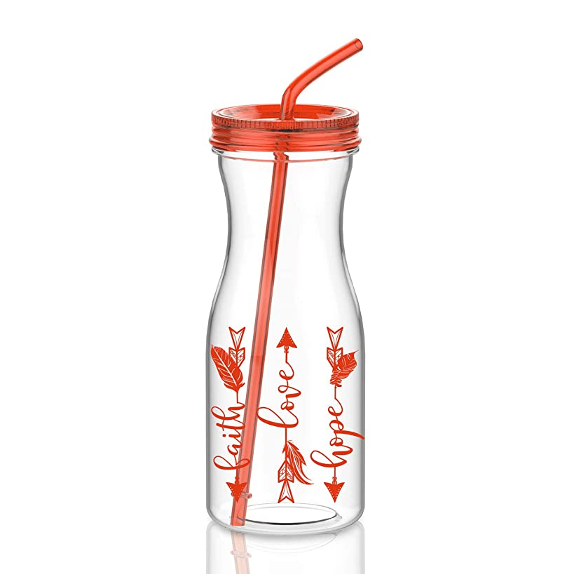 Artoid Mode 32oz Motivational Tumbler with Straw Faith Love Hope Arrow | Dishwasher-Safe Tritan Water Bottle Drink Cup with Twist Lid, BPA Free