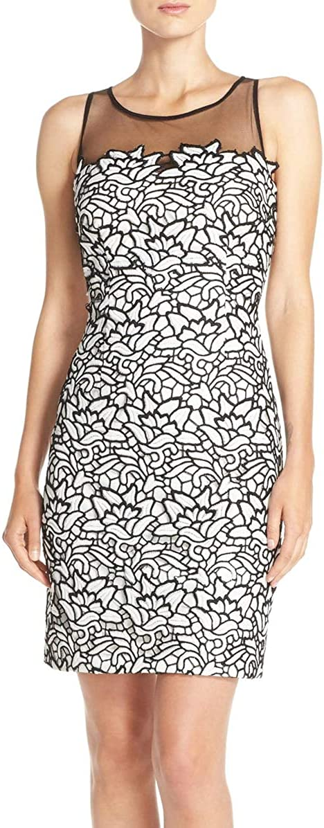 Aidan by Aidan Mattox Women's Two Tone Sleevless Lace Cocktail Dress with Mesh Illusion Neckline