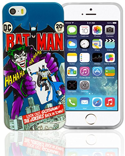 Phonix IP5WB5 - Carcasa y película protectora para Apple iPhone 5 y 5s, diseño DC Comics Batman