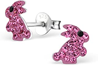 Cute Pink Rabbit Crystals Studs Earrings Easter Nickle Free Girls Stering Silver 925 (E26321)