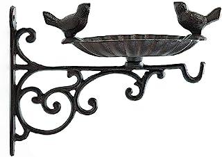 Sungmor Heavy Duty Cast Iron Bird Feeder with Hanging Bracket - Wall Mounted Bird Bath - Vintage & Lovely Birds Hanger Wal...