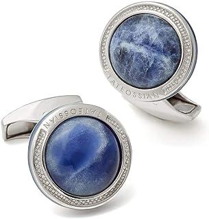 Tateossian Silver Signature Round Cufflinks with Sodalite, Blue