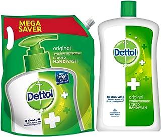 Dettol Liquid Hand wash Refill Original -1500 ml and Dettol Liquid Soap Jar Original, 900 ml